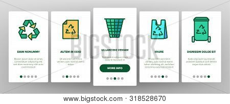 Recycling Onboarding Mobile App Page Screen Vector. Recycling Sign On Location Gps Mark And File, Wa