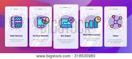 Analyse Onboarding Mobile App Page Screen Vector Thin Line. Market Graph Detail Of Analyse Linear Pi