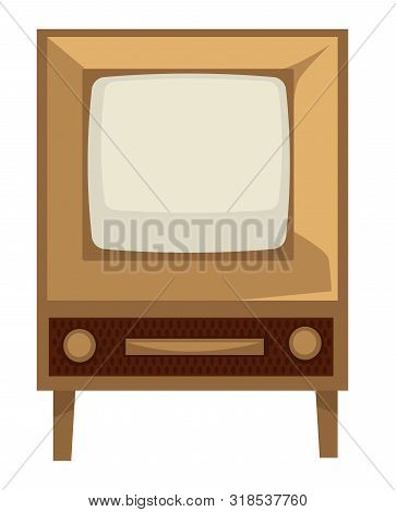 Tv Set Of 50s, Retro Device In 1950s Style Isolated Screen With Wooden Panel