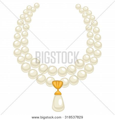 Pearl Necklace In 1950s Style, Isolated Jewelry With Gemstones