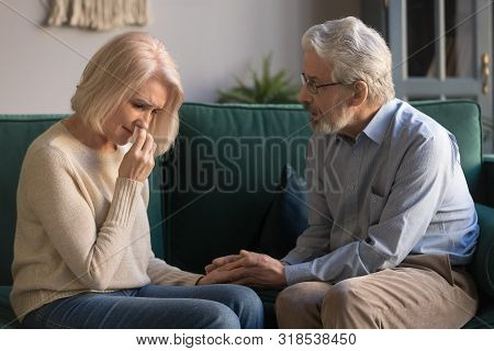 Loving Kind Old Husband Consoling Comforting Sad Crying Grieving Wife