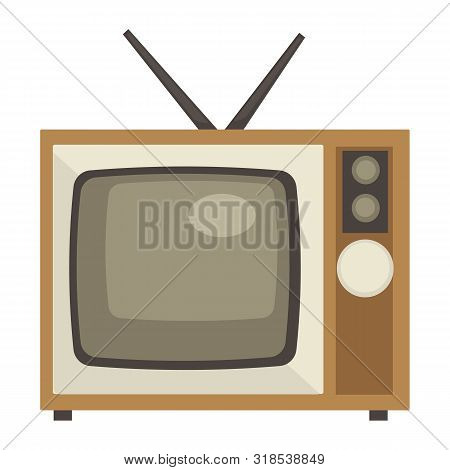 Tv Set With Antenna Isolated Object, 1960s Style Old Device