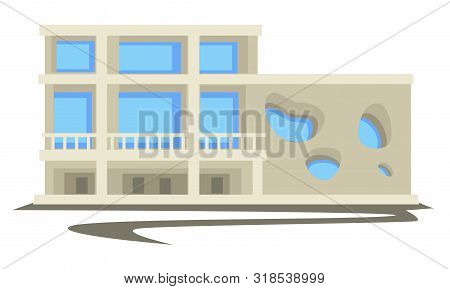1960s Architecture, Vintage Building Or Multi-storey House With Parking Space