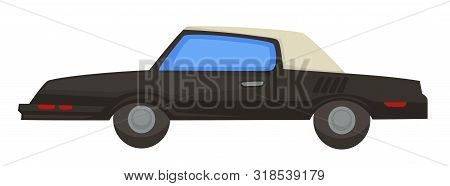 Retro 80s Vehicle, Car With Folding Roof Of 1980s Isolated Transport