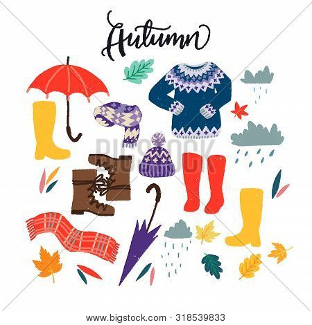Set Of Flat Style Clothing Images For Autumn Wardrobe. Cartoon Multicolored Objects For Rainy Fall W