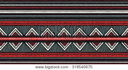 Colorful Boho Hand Drawn Tribal Stripes And Zig-zags Vector Seamless Pattern. Stylised Dense Ethnic