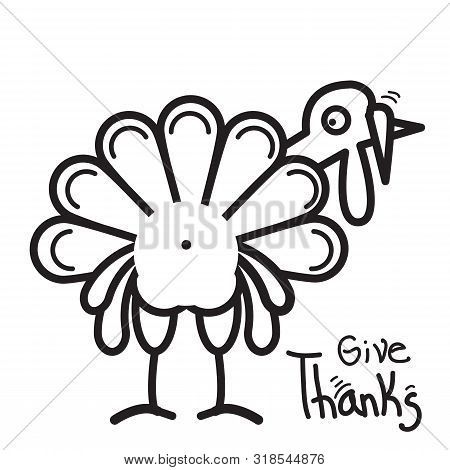 Thanksgiving Turkey For Happy Thanksgiving Day. Vector Symbol Illustration Isolated On White