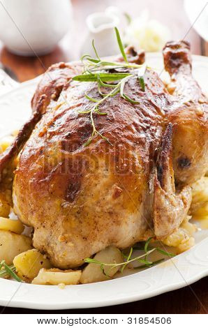 chicken roasted with the herbs