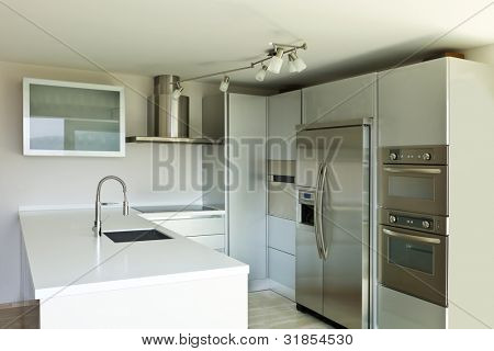 beautiful modern house, kitchen island