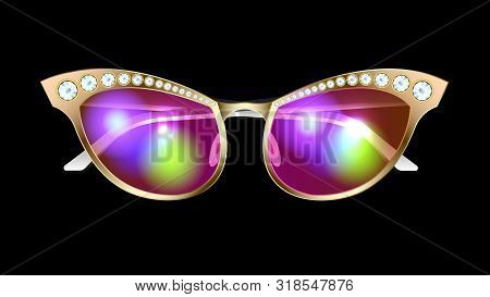 Fashionable, Stylish, Glamour Realistic Gold Sunglasses With Diamonds Isolated On A Black Background