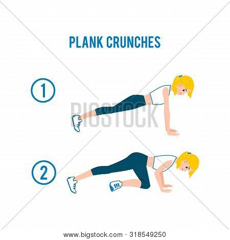 Plank Crunches - Fitness Exercise Steps For Abs And Core Workout