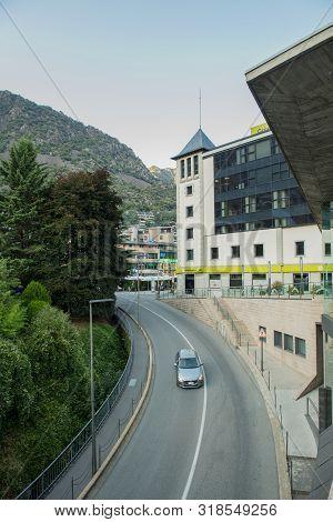 Andorra La Vella, Andorra : 2019 August 22 : Beautiful View Of Placa Del Poble In Andorra La Vella,