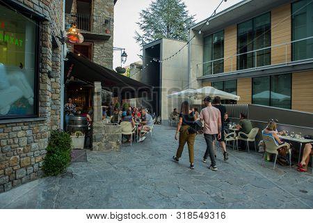 Andorra La Vella, Andorra : 2019 August 22 : People In Andorra La Vella, Capital, Centro Historic, S
