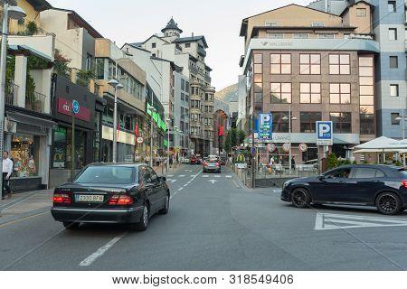 Andorra La Vella, Andorra : 2019 August 22 :  Andorra La Vella, Capital, Meritxell Main Comercial St
