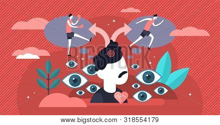 Fight Or Flight Vector Illustration. Flat Tiny Danger Response Persons Concept. Hyperarousal Stress