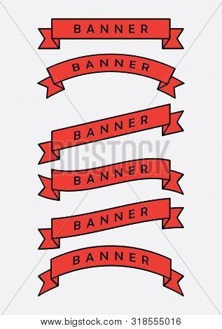 Set Of Red Ribbon Banner Icon,glyph Ribbon Banner,ribbon Vector Banner, On White Background,fill And