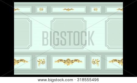 Stucco Gold Floral Pattern On Light Wall Panel Moulding Seamless. Realistic Detailed Vector Illustra