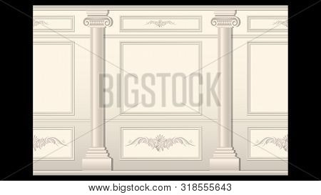 Beautiful Stucco Floral Pattern On Light Wall Panel Moulding With Columns Seamless. Realistic Detail