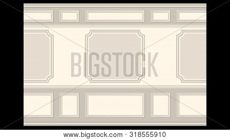Stucco Pattern On Light Wall Panel Moulding Seamless. Realistic Detailed Vector Illustration.