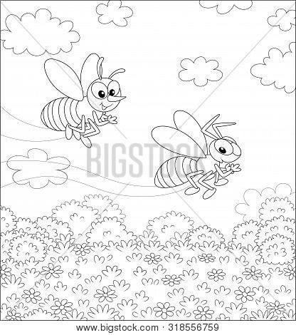 Funny Striped Bee And Wasp Flying Over A Field With Wildflowers On A Pretty Summer Day, Black And Wh