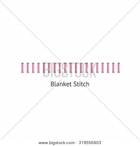 Blanket Stitch - Textile Sewing Seam In Geometric Row For Embroidery Themed Border Or Pattern