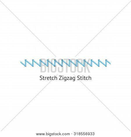 Stretch Zig Zag Stitch Brush Of Sewing Seams Vector Illustration Isolated On White.