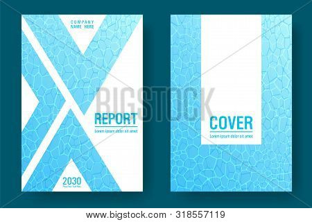 World Oceans Day Brochure Cover Templates Vector Set. Earth Day Flyers With Clean Sea Water Caustics