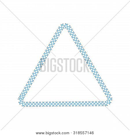 Stitched Border Or Sewing Seams Triangle Frame The Vector Illustration Isolated.