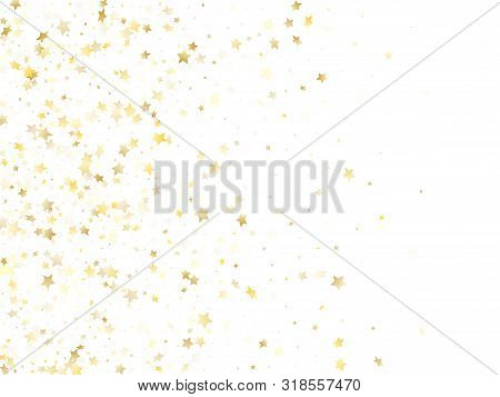 Magic Gold Sparkle Texture Vector Star Background. Abstract Gold Falling Magic Stars On White Backgr