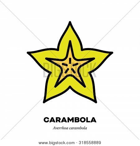 Carambola Fruit Icon, Outline With Color Fill Style Vector Illustration, Cross-section Of Starfruit