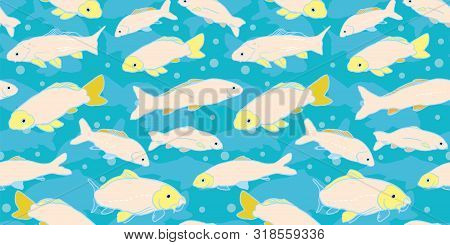 Wavy Sealife Goldfish Koi Seamless Pattern. With Carp Fish In Tones Of Pink And Yellow. Modern, Grap