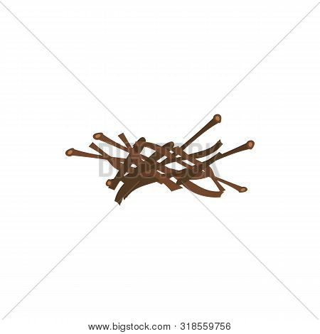Messy Firewood Sticks In Random Pile - Brown Brushwood Drawing Prepared For Bonfire Kindling