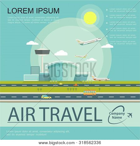 Flat Air Travel Poster With Airplanes Airport Building Flight Control Tower And Cars Riding On Road