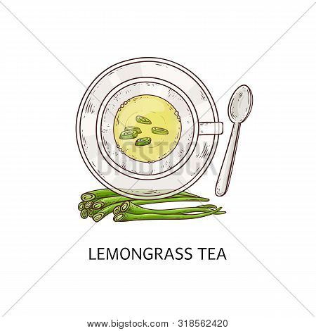 Lemongrass Tea In A White Cup With Shoots Icon Vector Illustration Isolated.
