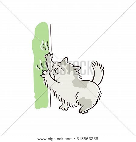 Banner With Naughty Cat Scratching Furniture Sketch Vector Illustration Isolated.