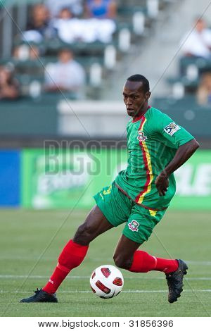 CARSON, CA. - JUNE 6: Grenada M Ricky Charles #9 in action during the 2011 CONCACAF Gold Cup group B game on June 6, 2011 at the Home Depot Center in Carson, CA.