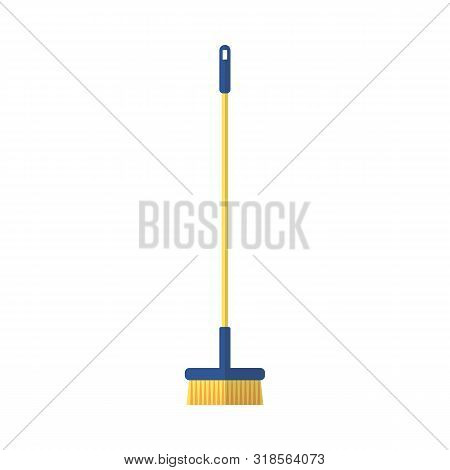 Orange Brush For Sweeping On A Long Handle Vector Illustration Isolated On White.