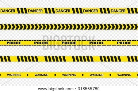 Yellow And Black Barricade Construction Tape, Transparent Background