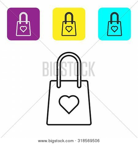 Black Line Shopping Bag With Heart Icon Isolated On White Background. Shopping Bag Shop Love Like He