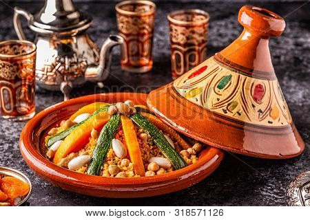Vegetable Tagine With Almond And Chickpea Couscous.