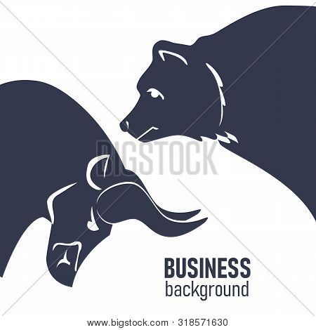 Bullish And Bearish Markets. Silhouette Of A Bull And A Bear In Front Of Trending. Financial Market