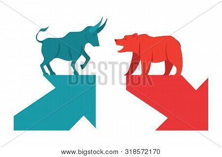 Bull And Bear Symbols With Green And Red Arrows, Stock Market And Business Concept. The Symbol Stock