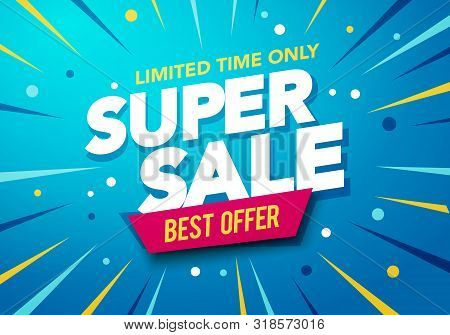 Vector Illustration Sale Banner Template Design, Big Sale Special Up To 50% Off. Super Sale, End Of