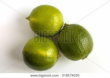 Lime Isolated. Green Lemon. Whole Citrus Fruit Seton White Background. Citric Coctail Or Lemonade In