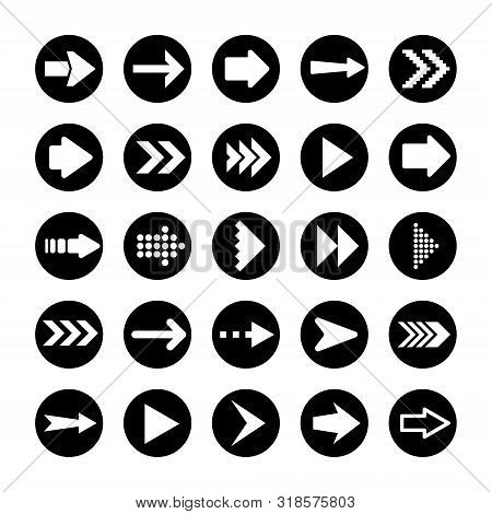 Black Arrows Set On White Background. Arrow, Cursor Icon. Vector Pointers Collection. Back, Next Web