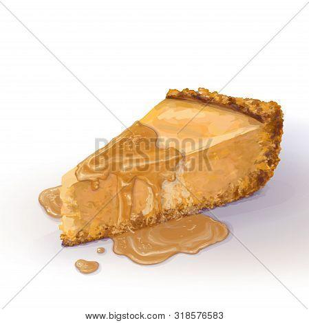 Vector Piece Of Pumpkin Cheesecake With Liquid Caramel Sauce, Soft Delicate Creamy-curd Cheese. Cris