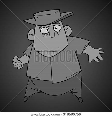 Cartoon Character Man In Hat Folded Fingers Into Fist. In Black And White