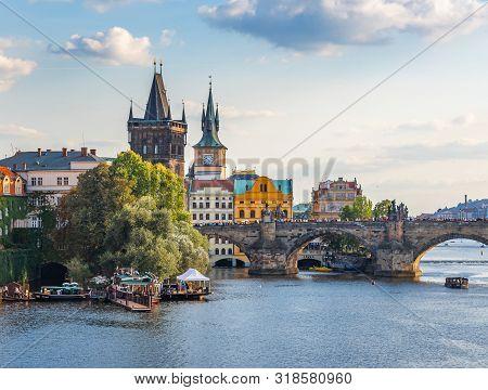 Praha, Czech Republic - 25 September, 2015: View Of The City Of Prague And The Vltava River On A Sun