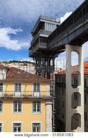 Lisbon City In Portugal. Santa Justa Lift.