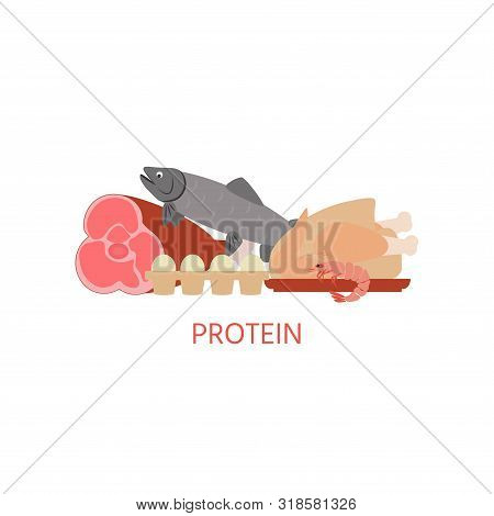 Diet. Healthy Eating Concept. Proteins Food Icons Isolated On White Background. Daily Ration. Protei